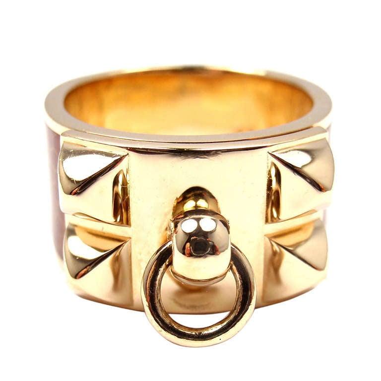 Hermes H Enamel Ring