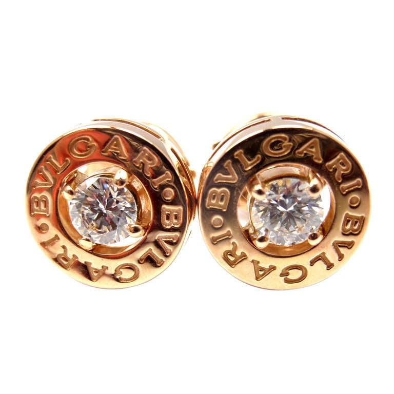 Bulgari Diamond Rose Gold Earrings For