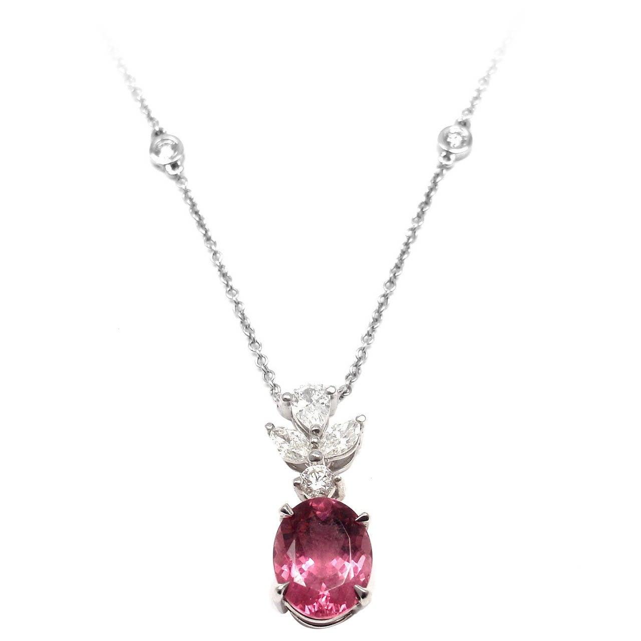 tiffany and co pink tourmaline diamond platinum necklace. Black Bedroom Furniture Sets. Home Design Ideas