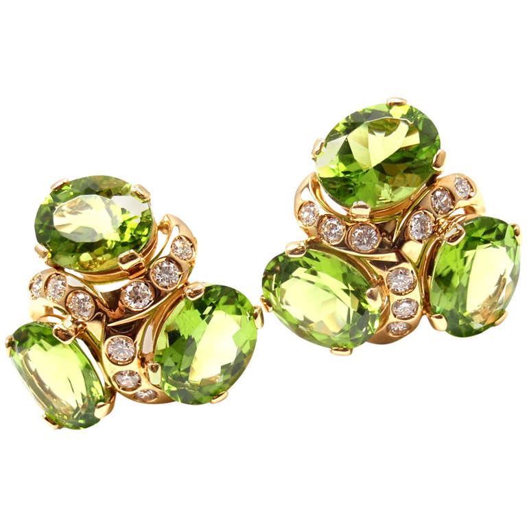 Verdura Three Stone Peridot Diamond Yellow Gold Earrings For