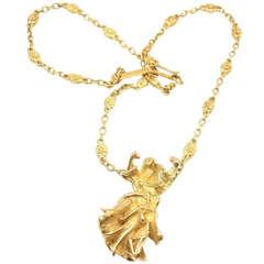 "Salvador Dali ""Carmen La Crotalos"" Yellow Gold Necklace"