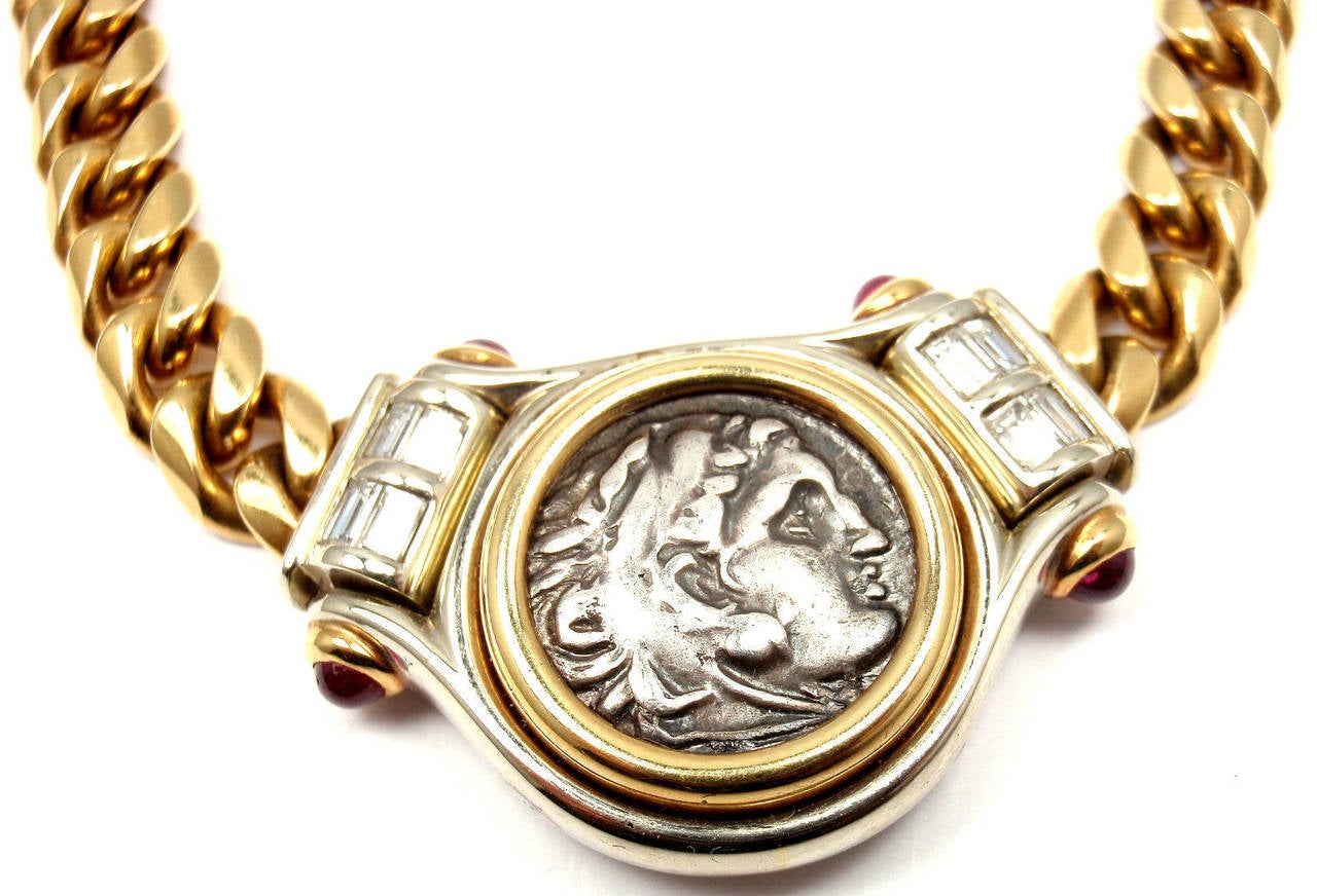 bulgari ruby diamond gold ancient coin link necklace 2
