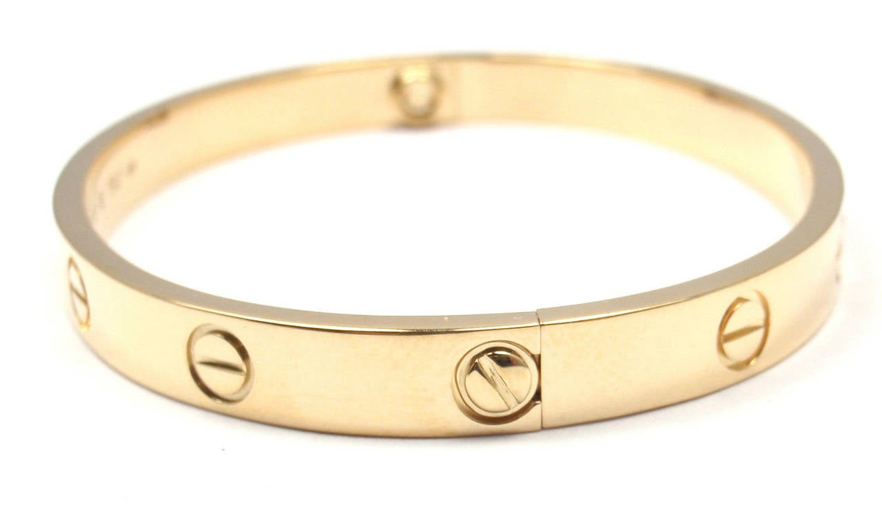 Cartier Gold Love Bangle Bracelet In New Condition For Sale In Holland, PA
