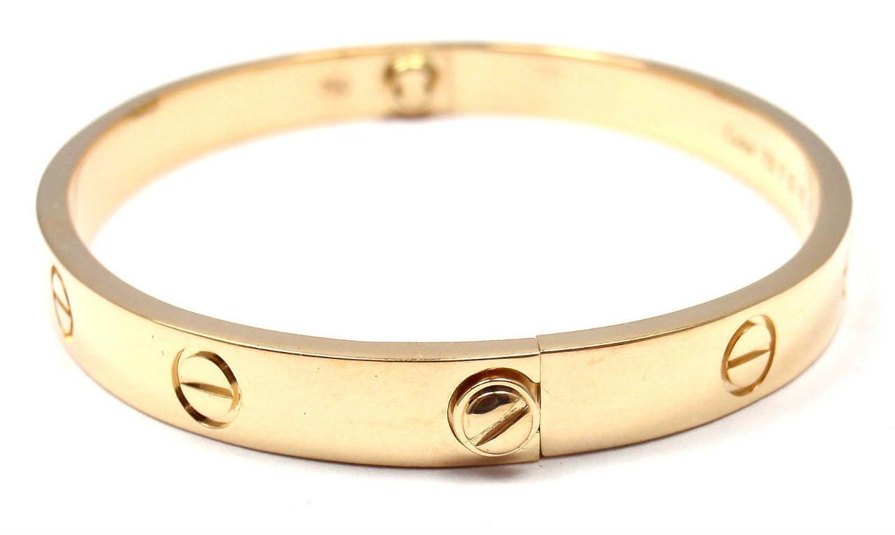 Women's Cartier Gold Love Bangle Bracelet For Sale
