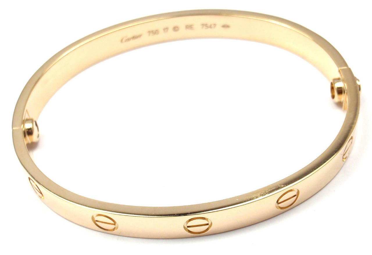 Cartier Gold Love Bangle Bracelet For Sale 2