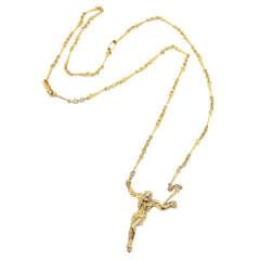 Salvador Dali Small Christ Saint John On The Cross Yellow Gold Bracelet Necklace
