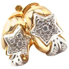 Chanel Comete Diamond Gold Star Hoop Earrings