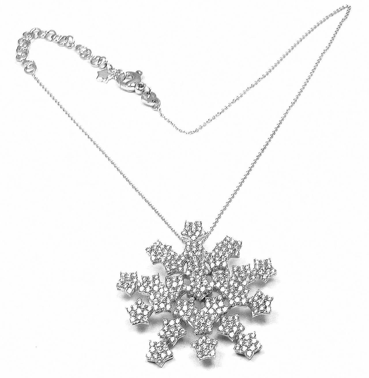 18k White Gold Snow Flake 4.35ct Diamond Necklace by Pasquale Bruni.