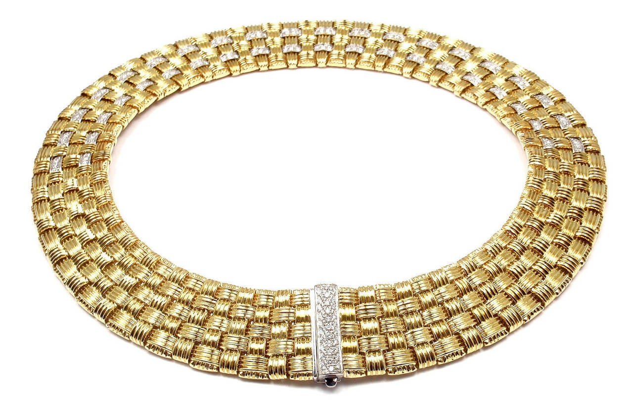 Roberto Coin Appassionata Five Row Diamond Gold Necklace