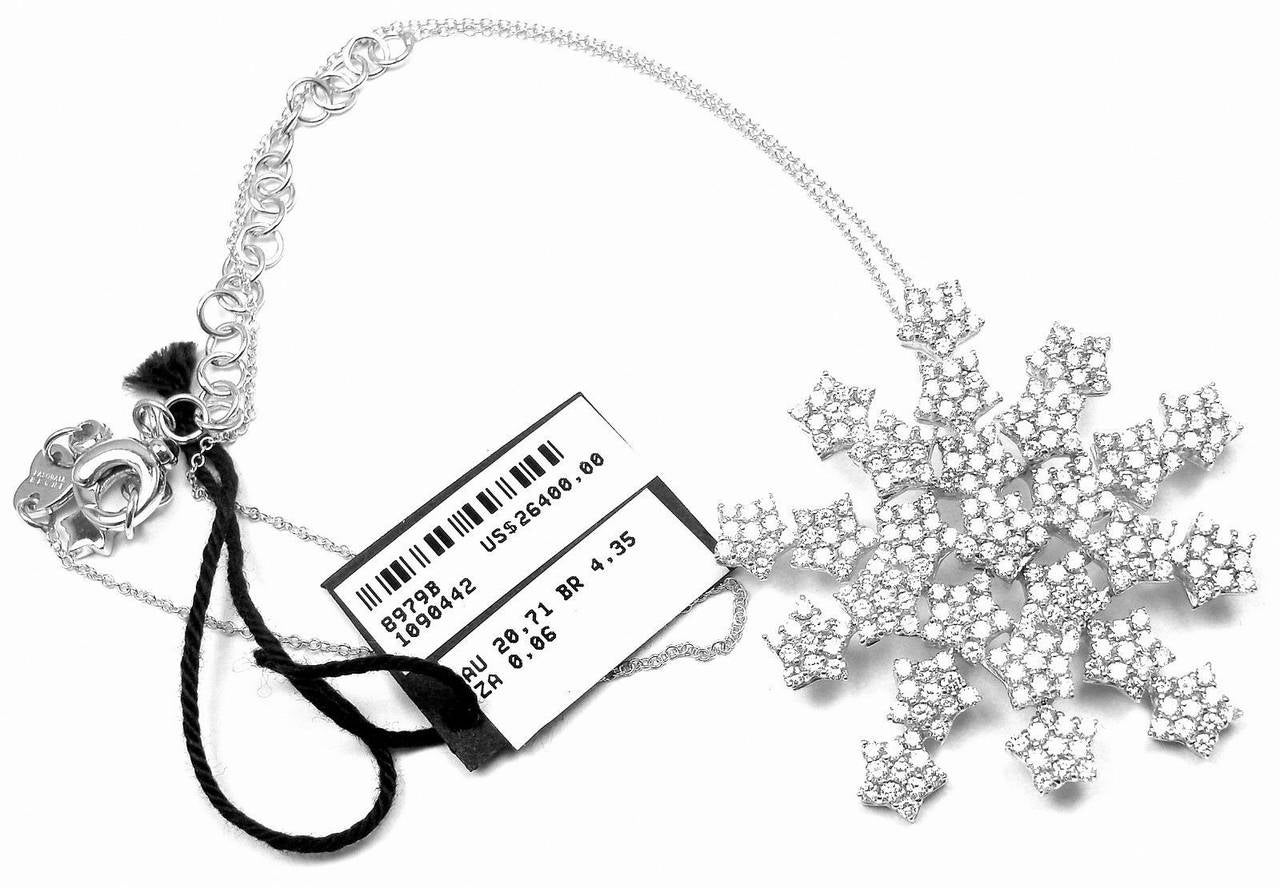 Women's Pasquale Bruni 4.35 Carat Diamond Gold Snow Flake Necklace For Sale