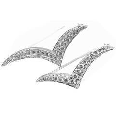 Tiffany & Co. Set of Two Diamond Platinum Seagull Brooch Pins