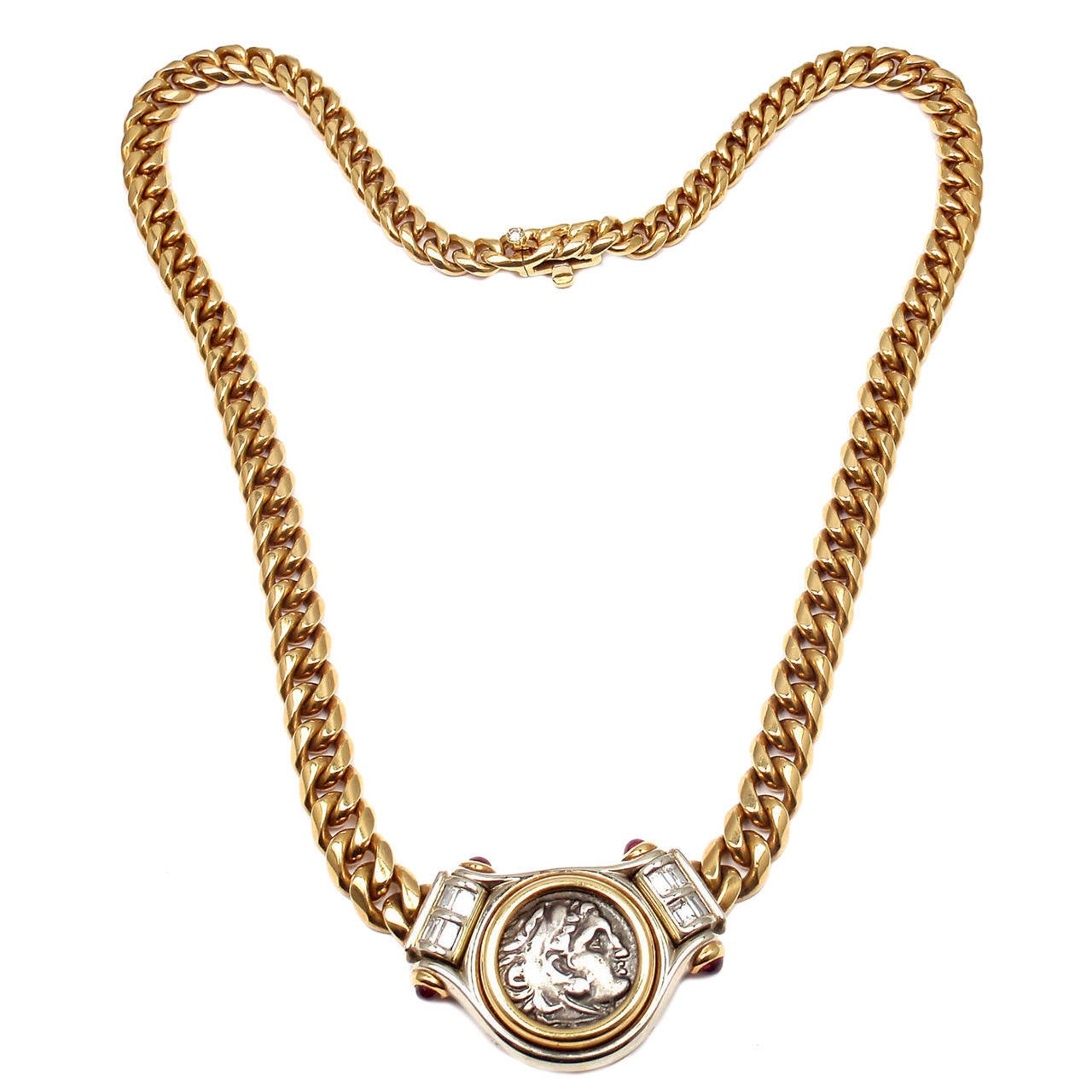 bulgari ruby diamond gold ancient coin link necklace 1