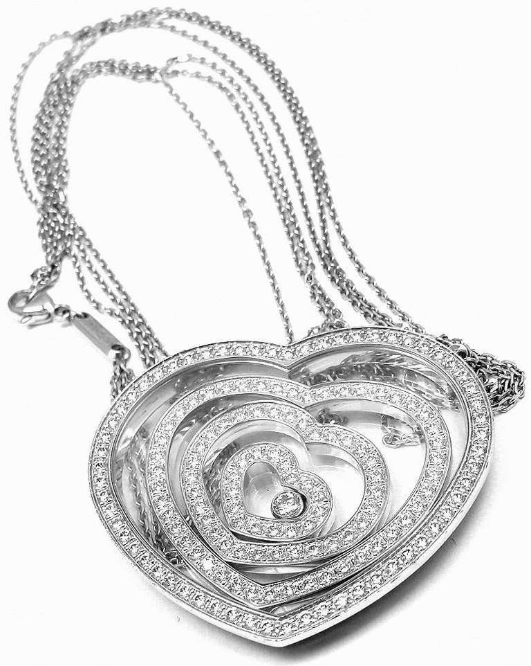 Chopard happy spirit diamond heart white gold necklace at 1stdibs 18k white gold diamond happy spirit heart necklace by chopard this necklace comes mozeypictures