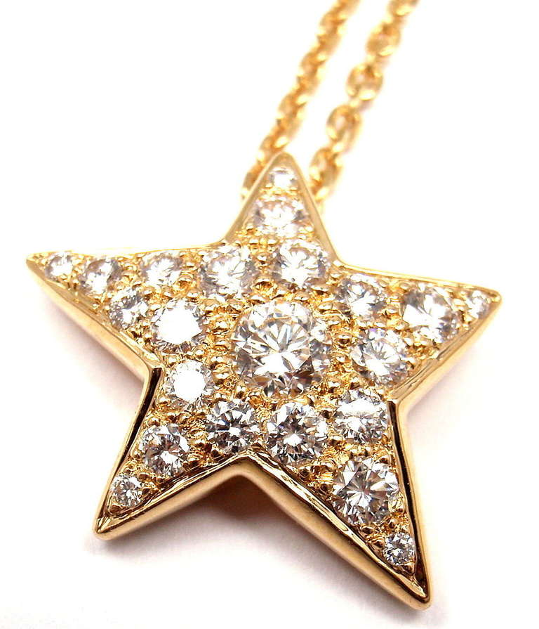 Chanel comete star diamond yellow gold pendant necklace at 1stdibs chanel comete star diamond yellow gold pendant necklace in as new condition for sale in southampton mozeypictures Gallery