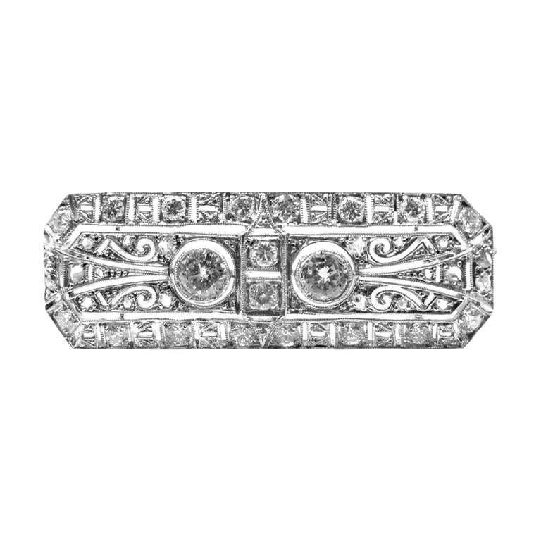 Art Deco Diamond Platinum Pin Brooch For Sale