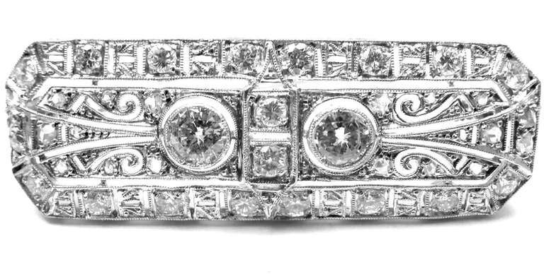 Platinum Vintage Art Deco 3.50CT Diamond Pin Brooch. 
