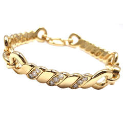 Bulgari Diamond Yellow Gold Link Bracelet