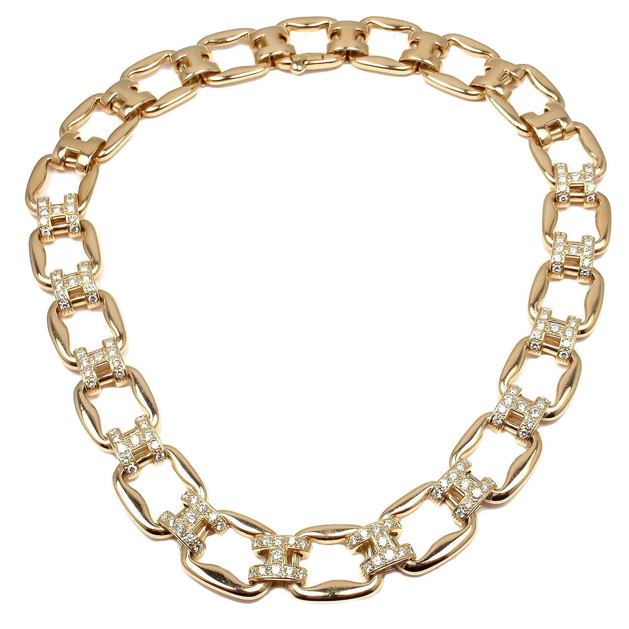 Hermes Diamond H Yellow Gold Link Necklace At 1stdibs