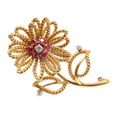 TIFFANY & CO. Diamond Ruby Yellow Gold Flower Brooch