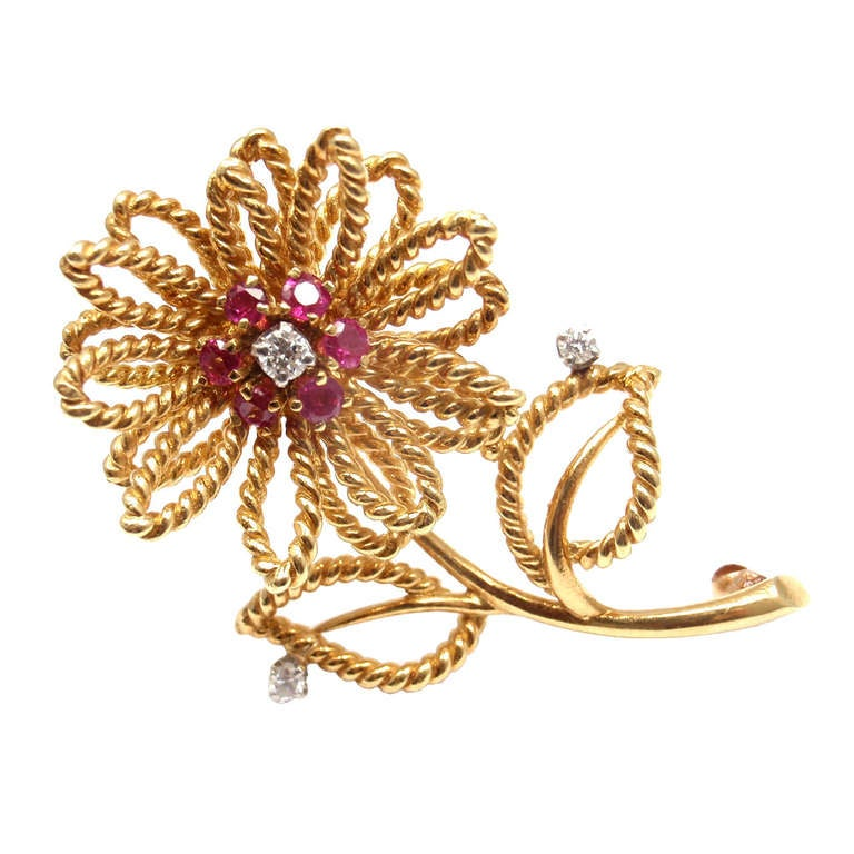 36357a1eea135 TIFFANY & CO. Diamond Ruby Yellow Gold Flower Brooch