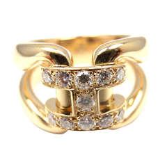 "HERMES Diamond ""H"" Yellow Gold Ring"
