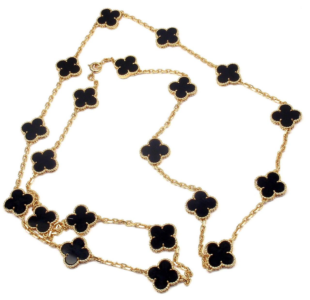 Van Cleef & Arpels Vintage Alhambra Twenty-Motif Black Onyx Gold Necklace 6