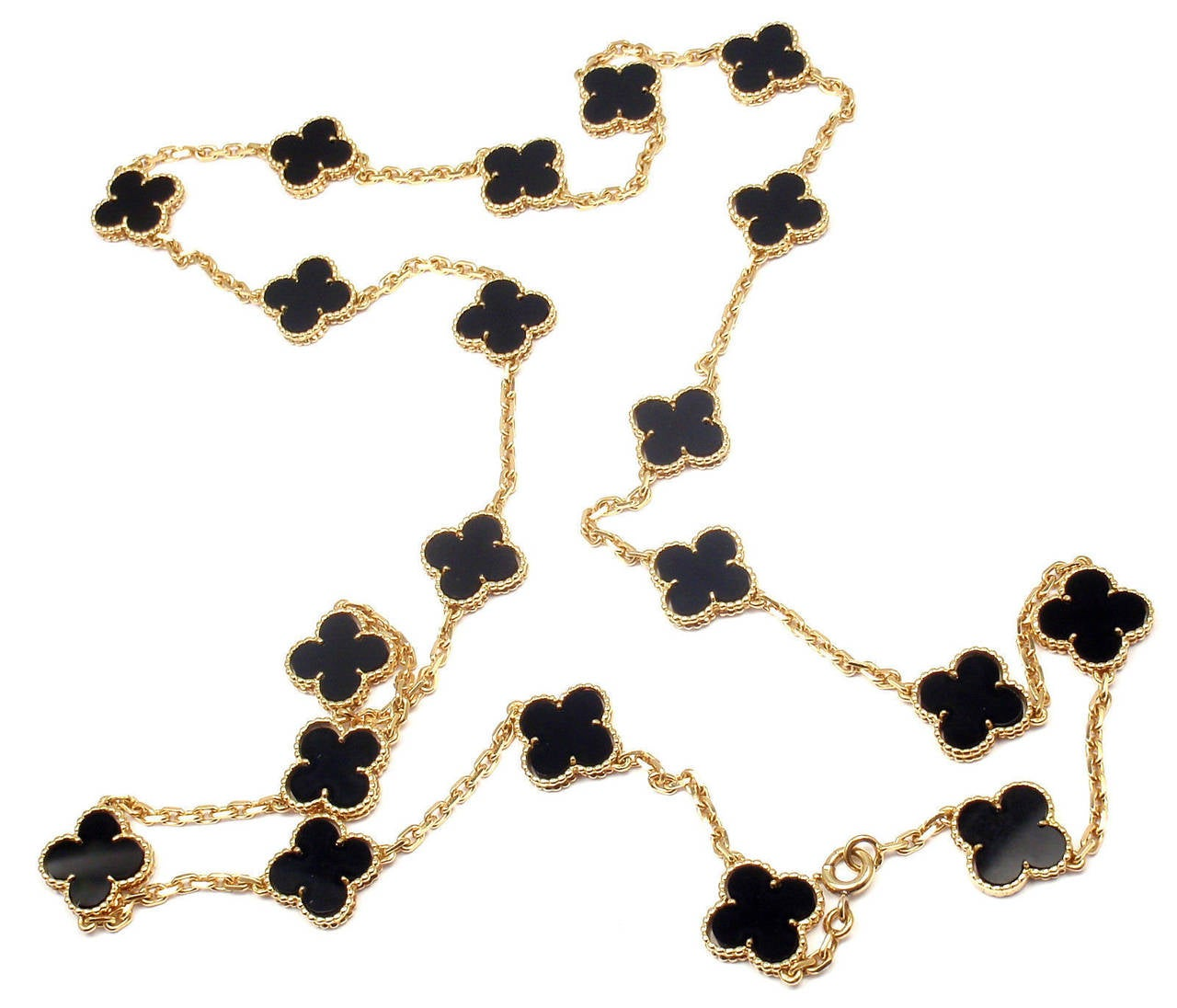 Van Cleef & Arpels Vintage Alhambra Twenty-Motif Black Onyx Gold Necklace In As new Condition For Sale In Southampton, PA
