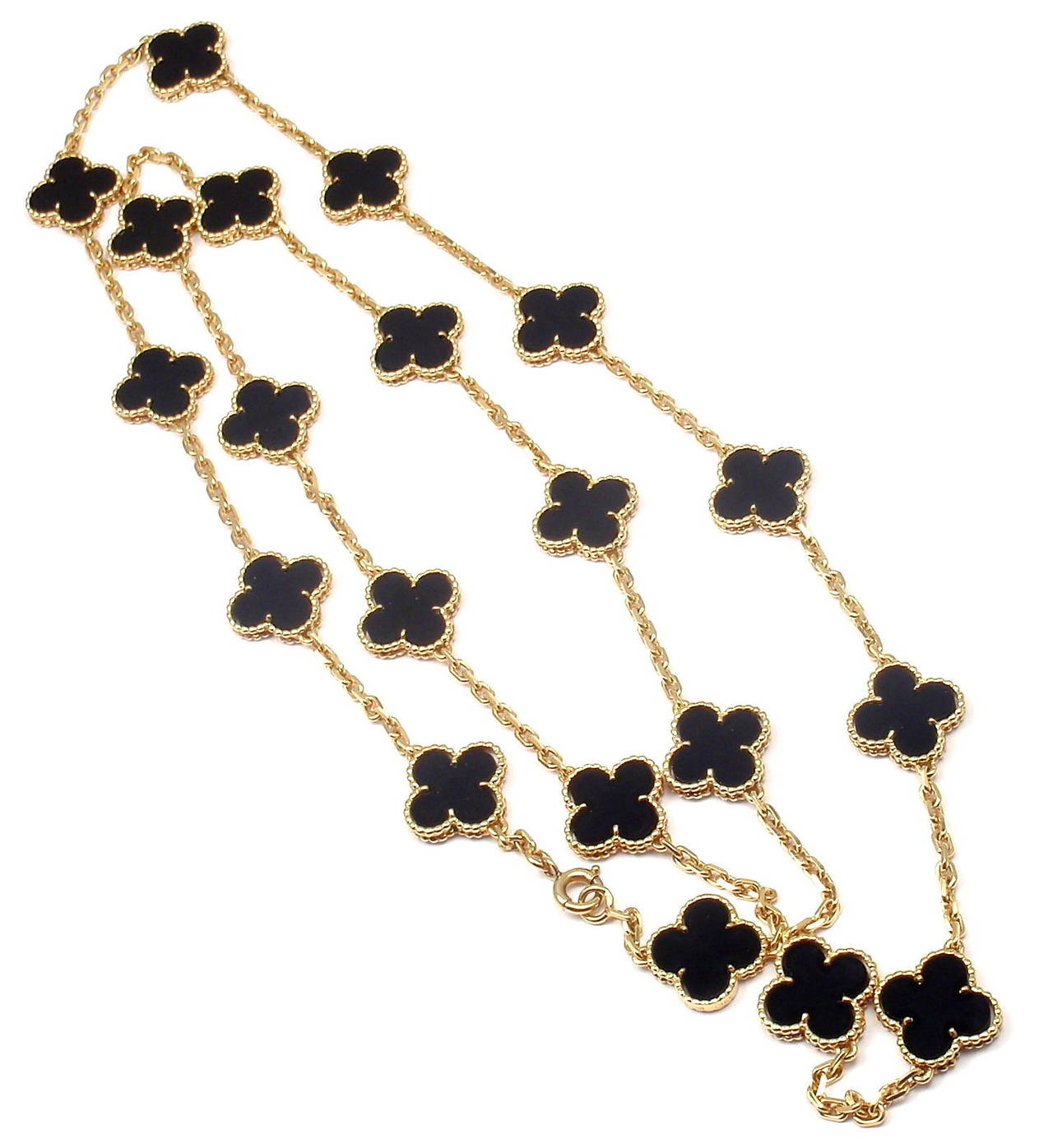 18k Yellow Gold Alhambra Twenty-Motif Black Onyx Necklace by 