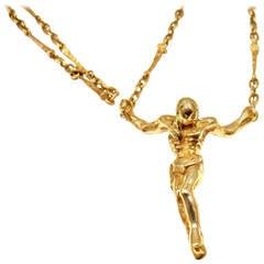 Salvador Dali Christ Saint John On The Cross Gold Bracelet Necklace Set