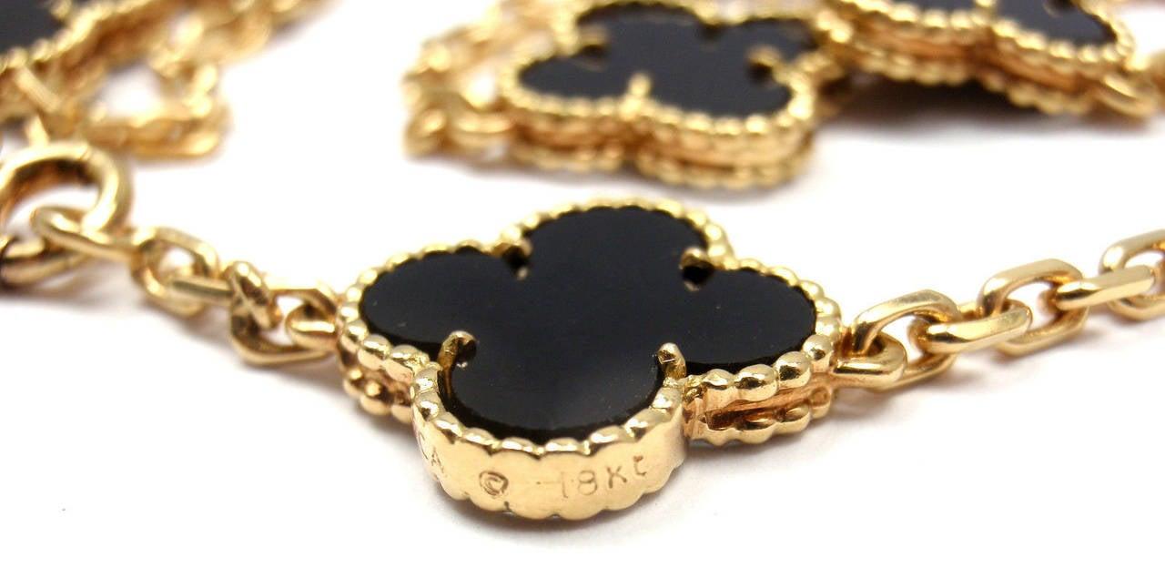 Van Cleef & Arpels Vintage Alhambra Twenty-Motif Black Onyx Gold Necklace 4