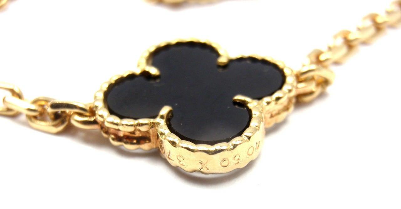 Van Cleef & Arpels Vintage Alhambra Twenty-Motif Black Onyx Gold Necklace 7