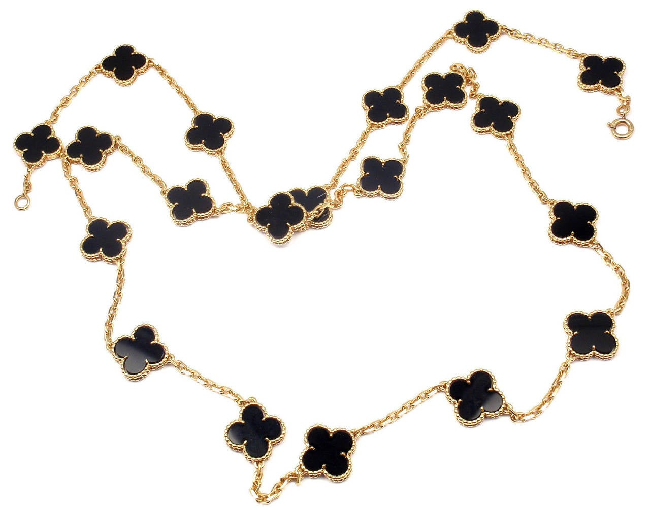 Van Cleef & Arpels Vintage Alhambra Twenty-Motif Black Onyx Gold Necklace 9