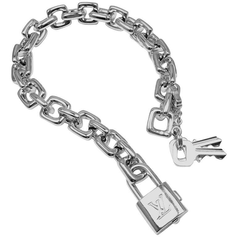 Louis Vuitton White Gold Charm Large Link Bracelet For