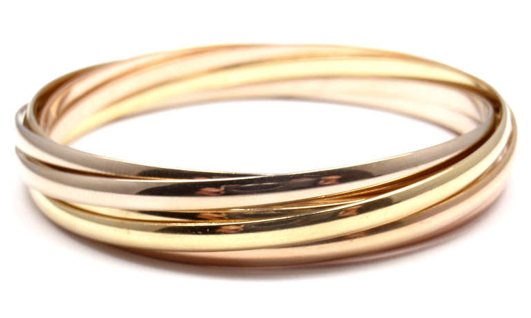 Rare Cartier Tri Color Gold Trinity Rolling 7 Bangle