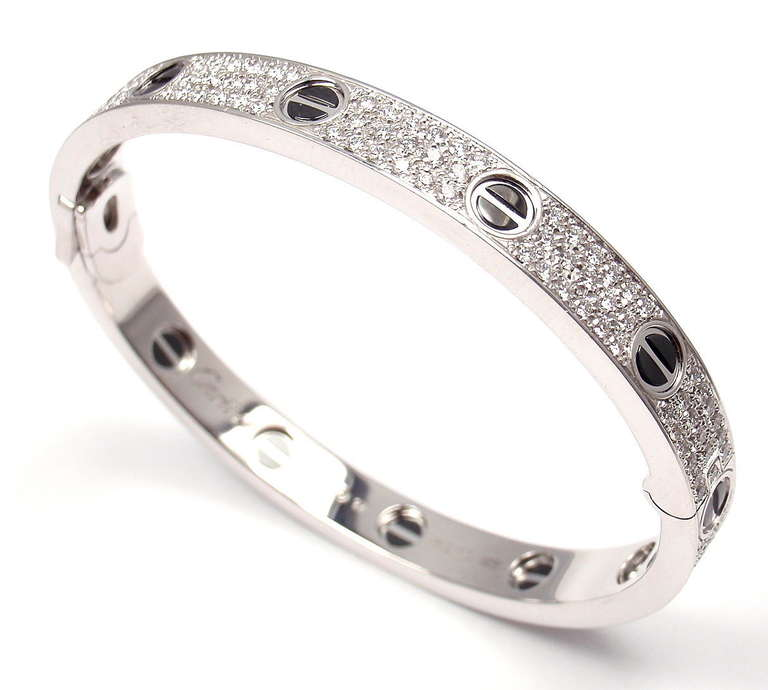 Modern Cartier White Gold Diamond Cearamic Love Bangle Bracelet Size 17 For