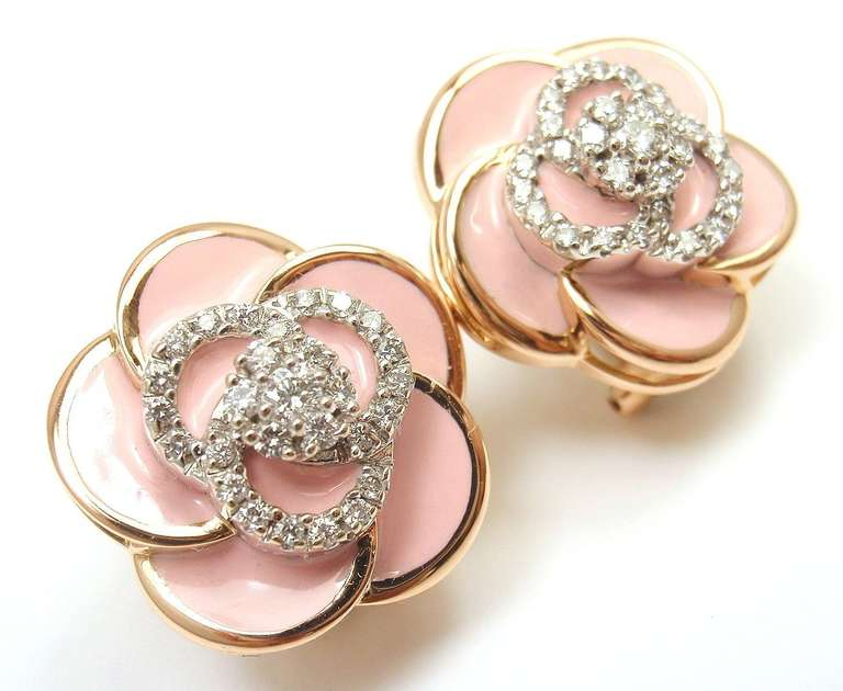 Roberto Coin Rose gold Pink enamel and Diamonds Flower Earrings. 2