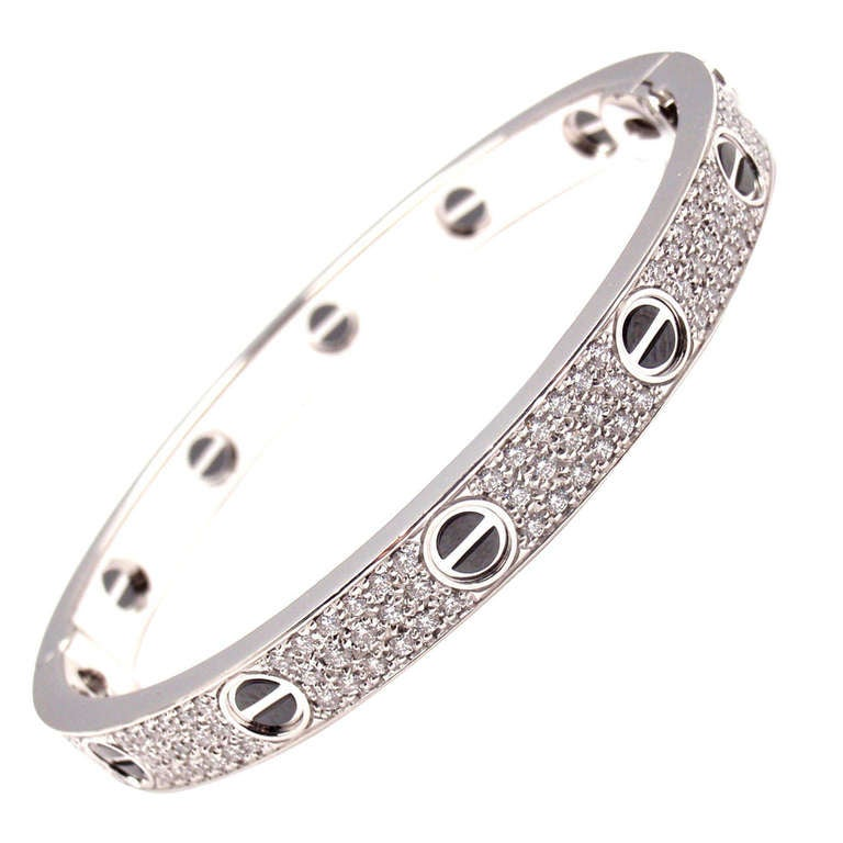 035f252512823 Cartier White Gold Diamond Cearamic LOVE Bangle Bracelet Size 17