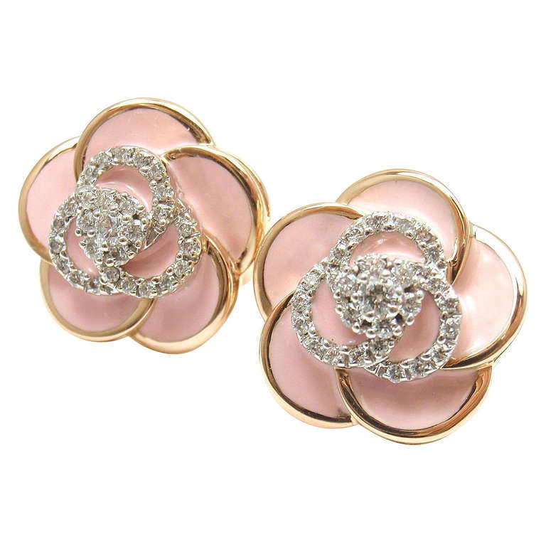Roberto Coin Rose gold Pink enamel and Diamonds Flower Earrings. 1