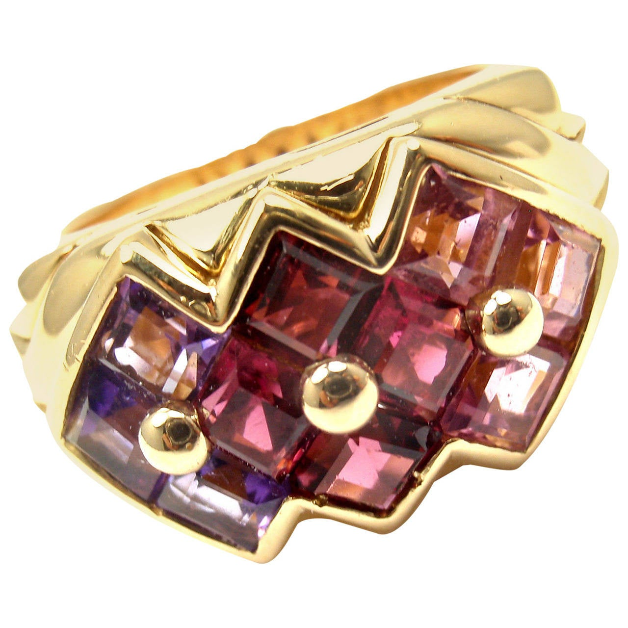 Bulgari Pink Tourmaline Amethyst Yellow Gold Ring For Sale