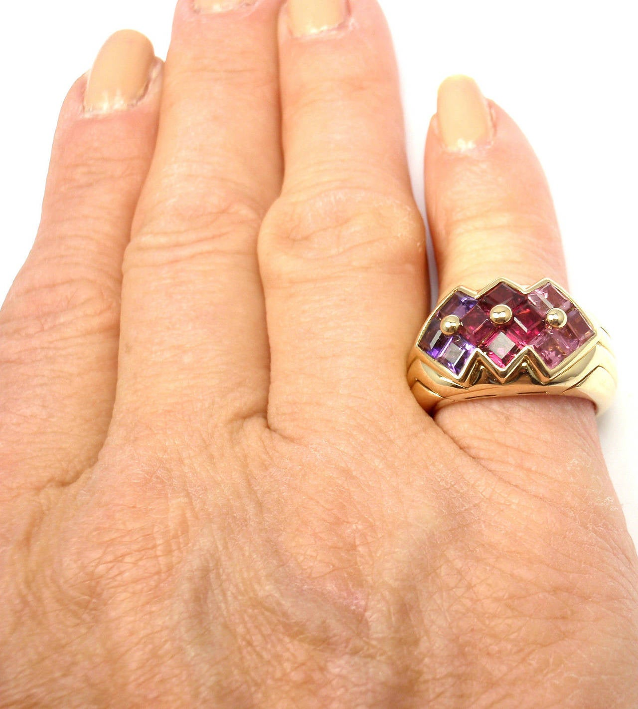 Bulgari Pink Tourmaline Amethyst Yellow Gold Ring For Sale 4