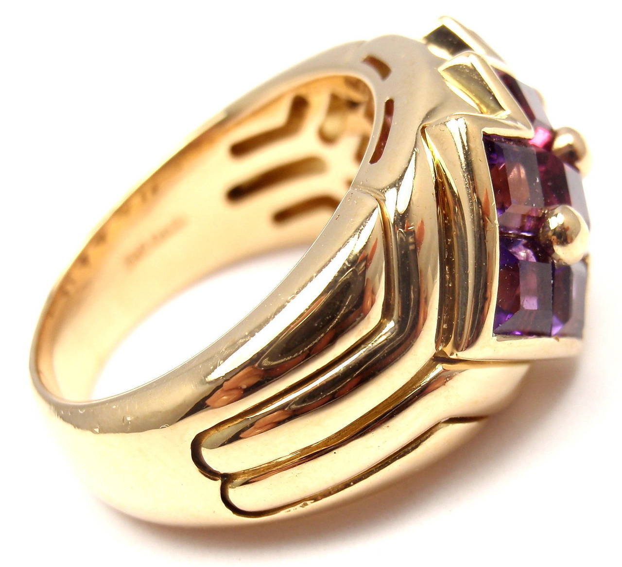 Bulgari Pink Tourmaline Amethyst Yellow Gold Ring In As New Condition For Sale In Southampton, PA