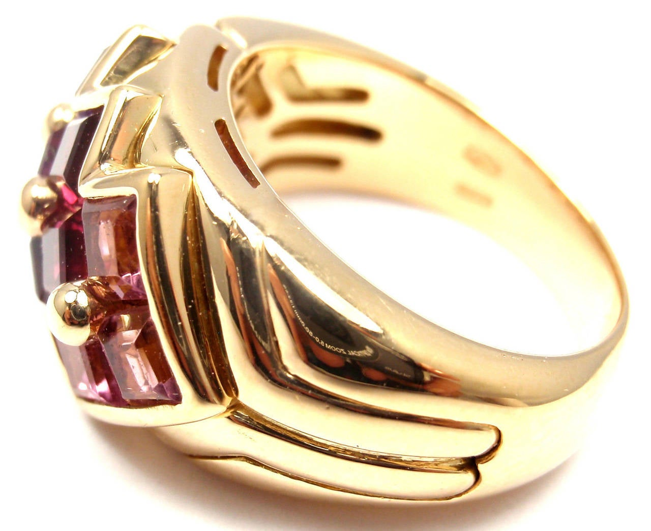 18k Yellow Gold Pink Tourmaline Amethyst Ring By Bulgari.