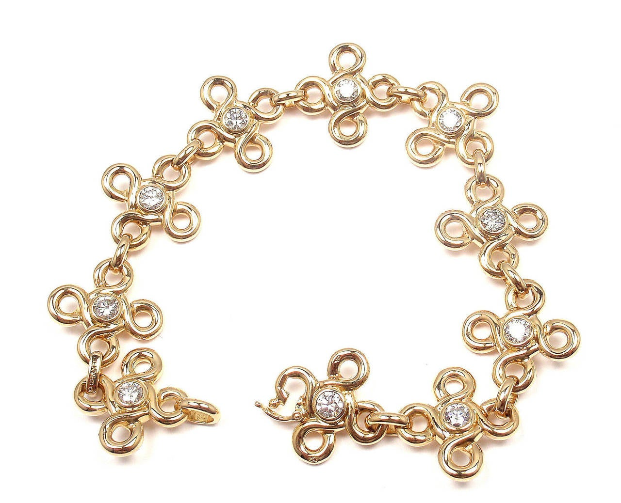 Chanel Diamond Gold Link Bracelet For Sale 2