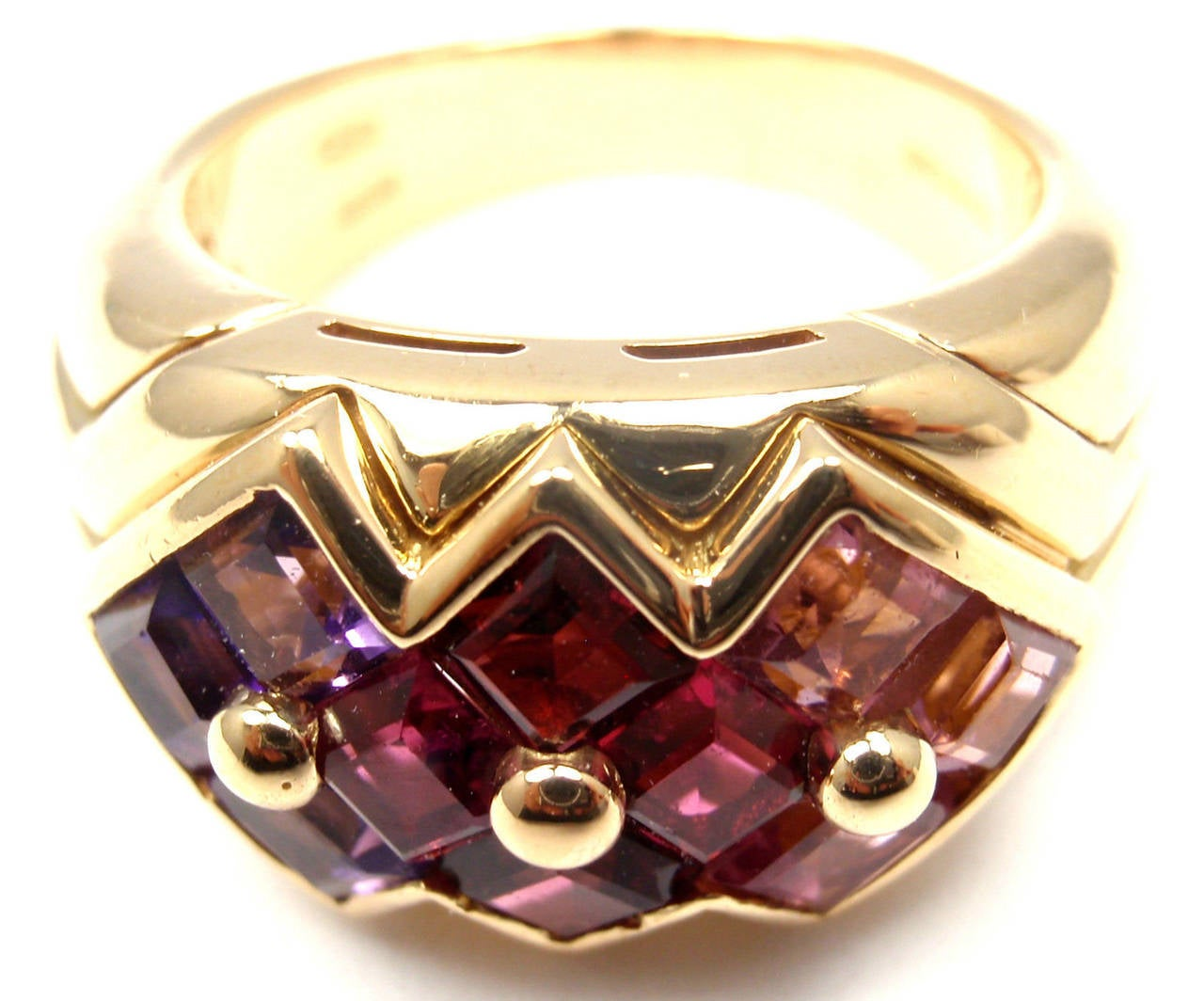Bulgari Pink Tourmaline Amethyst Yellow Gold Ring For Sale 1