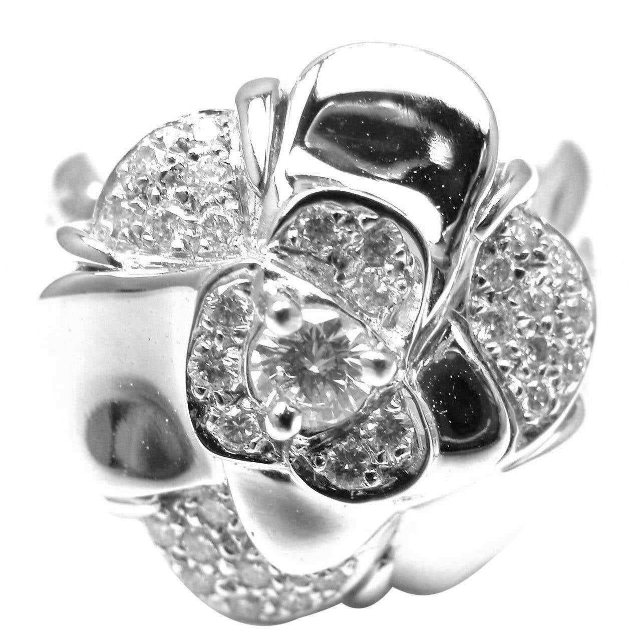 Chanel 1932 flower diamond white gold large ring for sale at 1stdibs chanel camelia diamond gold flower ring mightylinksfo
