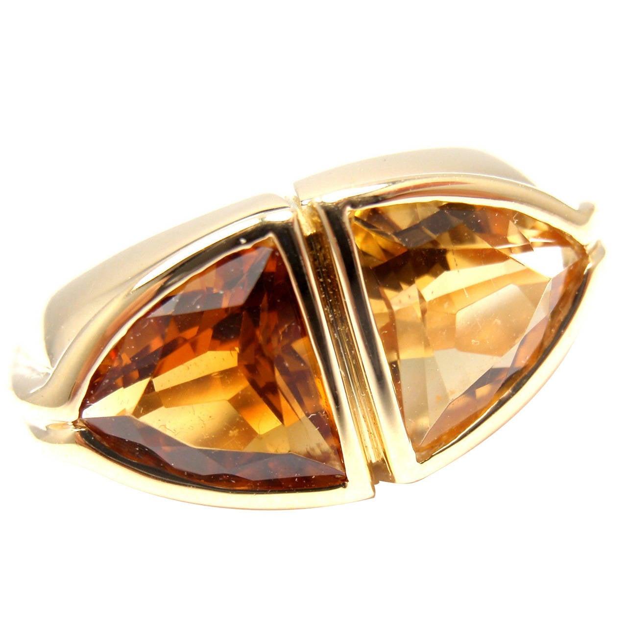 bulgari citrine golden topaz gold ring at 1stdibs