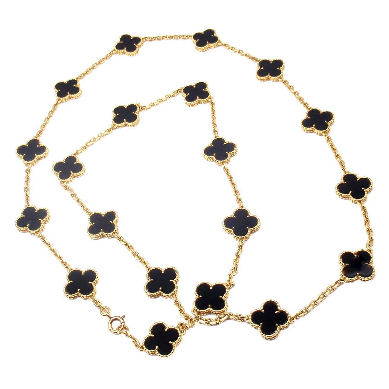 Van Cleef & Arpels Vintage Alhambra Twenty-Motif Black Onyx Gold Necklace 1
