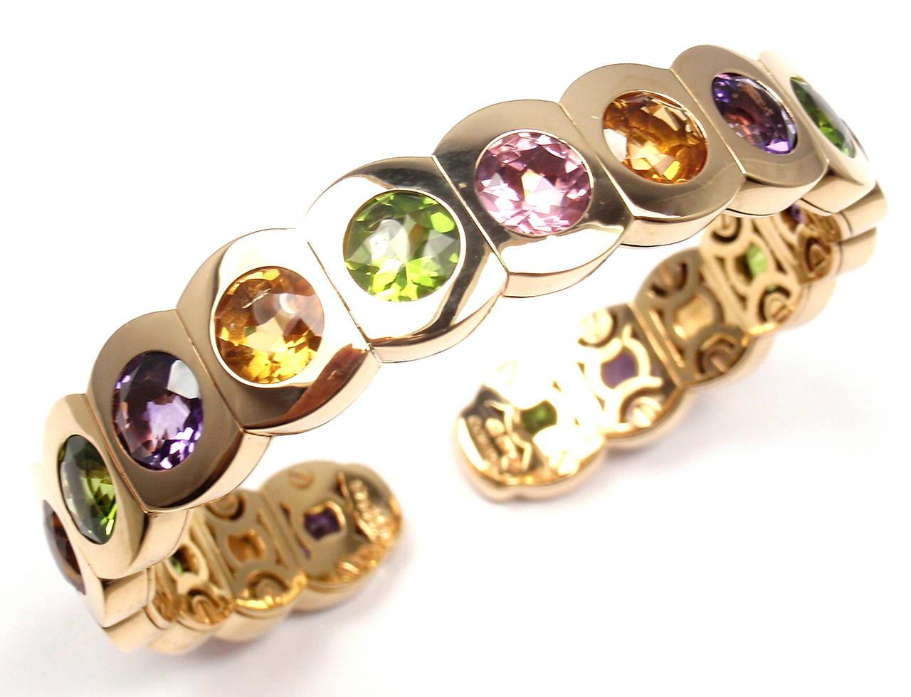 Chanel Multi Color Stone Yellow Gold Cuff Bangle Bracelet 4