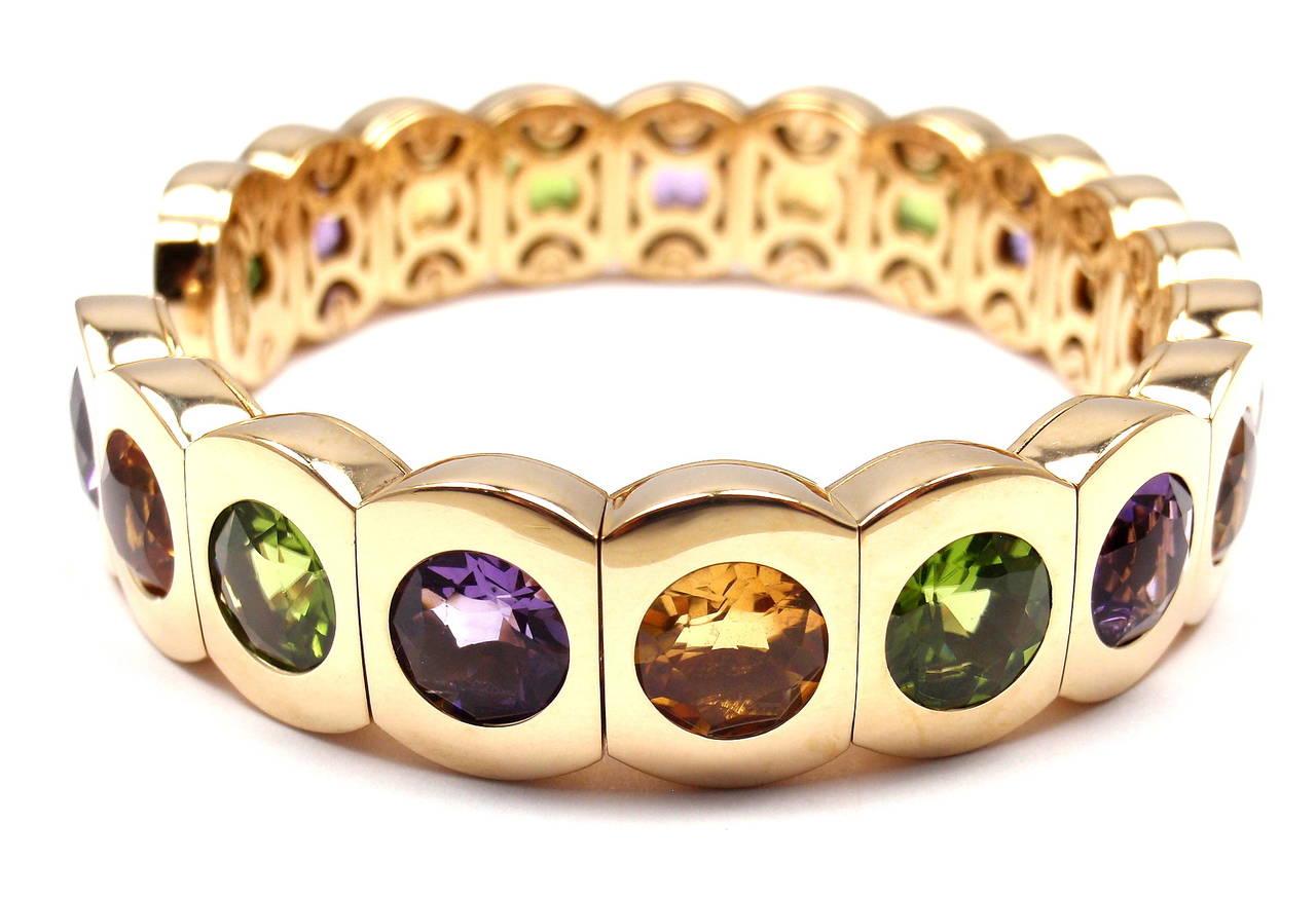 Women's Chanel Multi Color Stone Yellow Gold Cuff Bangle Bracelet
