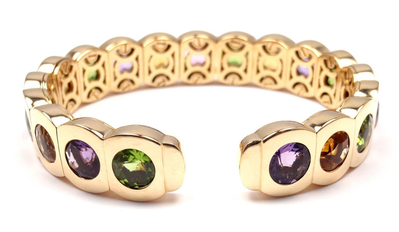 Chanel Multi Color Stone Yellow Gold Cuff Bangle Bracelet